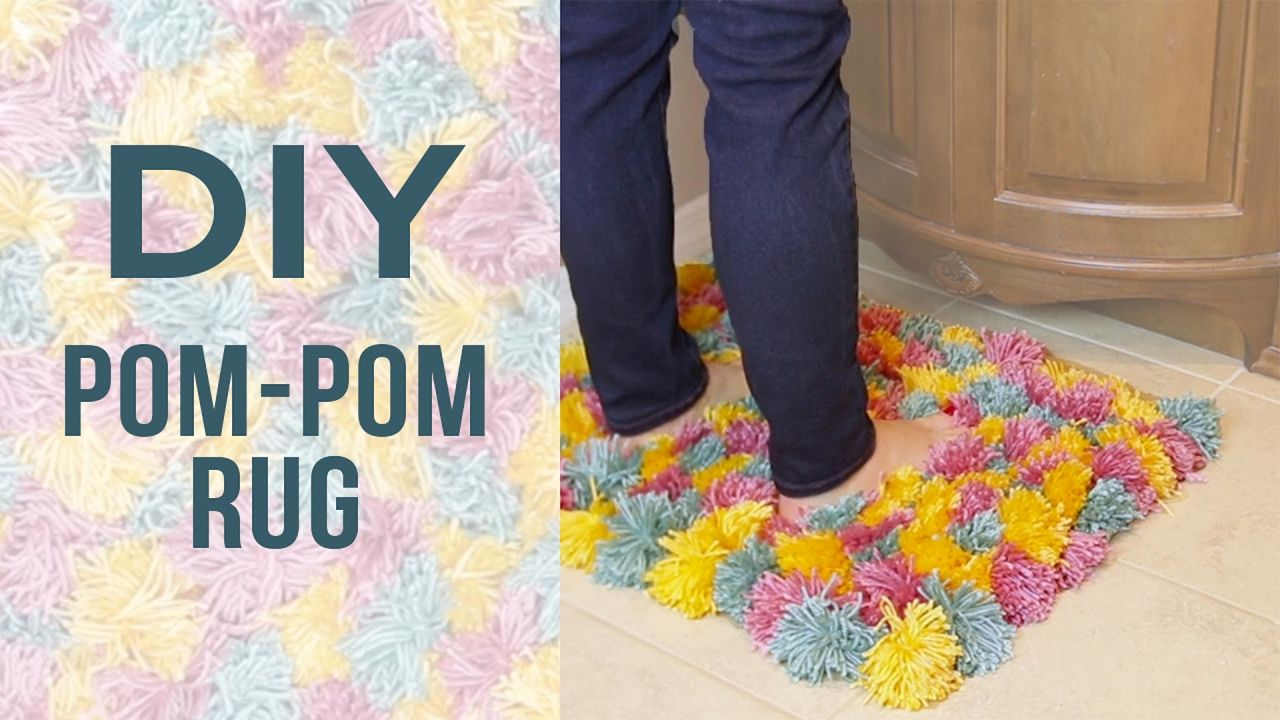 Instructions Diy Pom Rug Supplies Yarn Paper Towel Roll Scissors Non Slip Mat Making The Poms Cut Pape