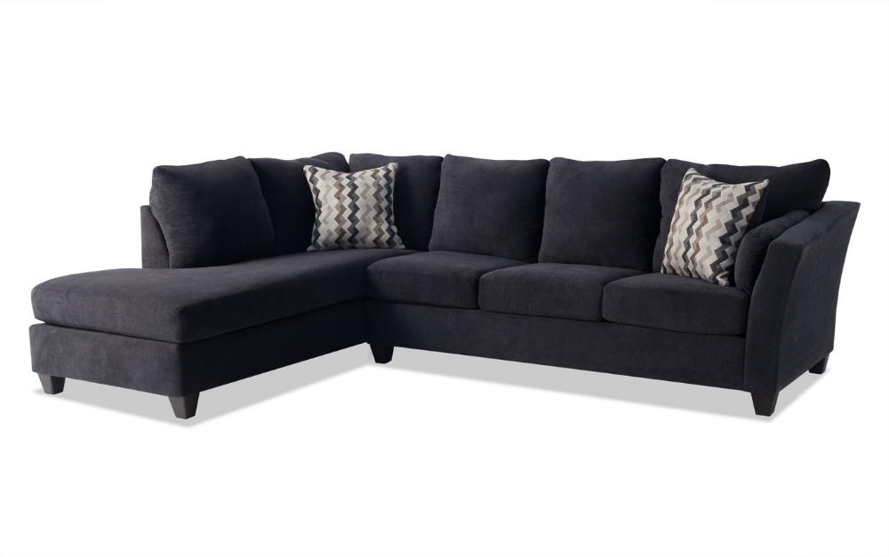 Virgo Black 2 Piece Right Arm Facing Sectional Bobs Com Black Sectional Living Room Sectional Living Room Sectional
