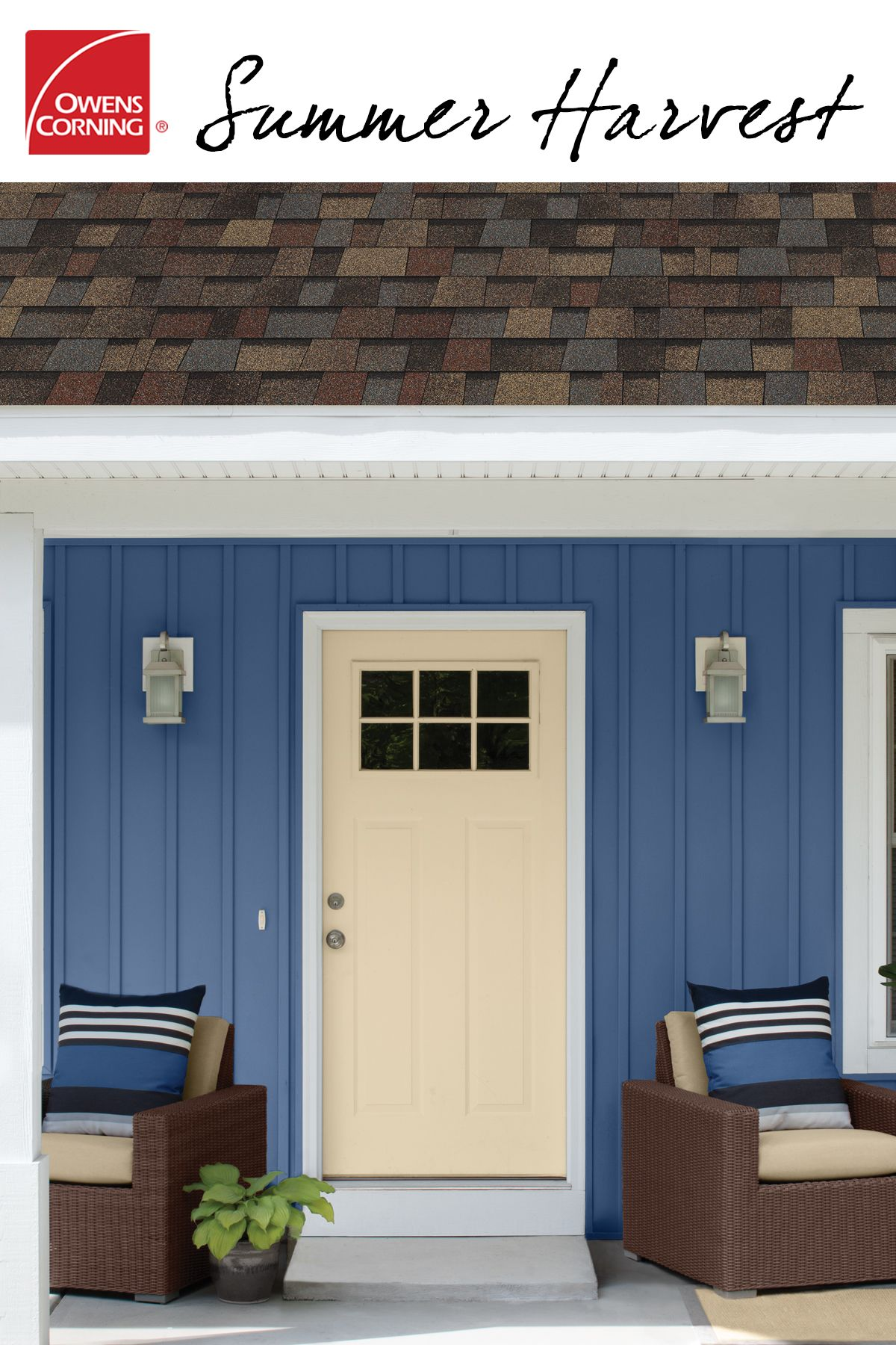 A Shingle Color Like Summer Harvest Are The Perfect Complement To The Yellow Exterior The Shingles Offer Curb Appeal Roof Shingle Colors Shingling Roof Colors