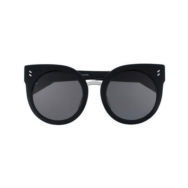 Stella McCartney SC0036S 001 Sunglasses (915 BRL) ❤ liked on Polyvore featuring accessories, eyewear, sunglasses, black, plastic glasses, stella mccartney glasses, plastic lens glasses, lens glasses and stella mccartney eyewear