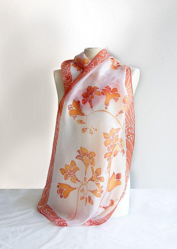 Silk scarf Fresia - scarf handpainted - silk scarves ...