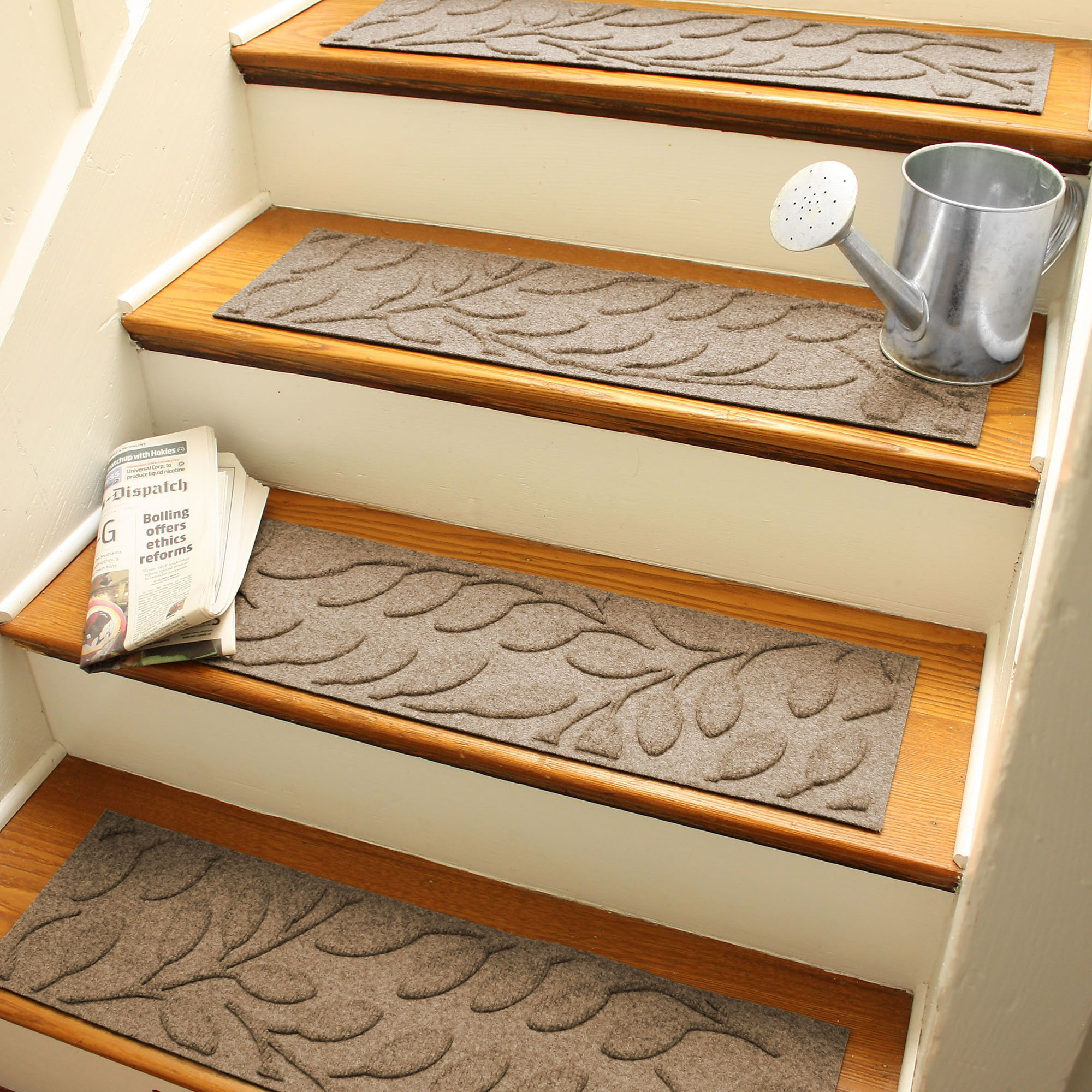 Beautiful Bungalow Flooring Aqua Shield Camel Brittany Leaf Stair Tread