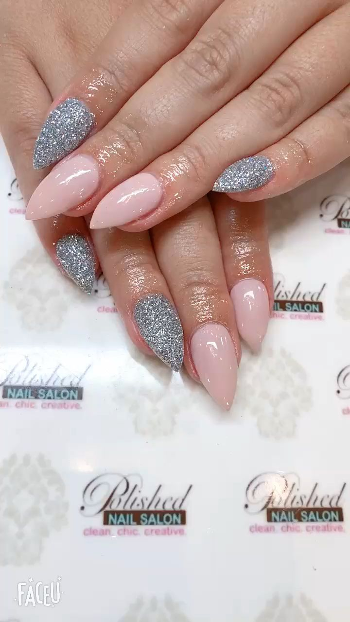 These pointy pink almond shaped nails are adorable