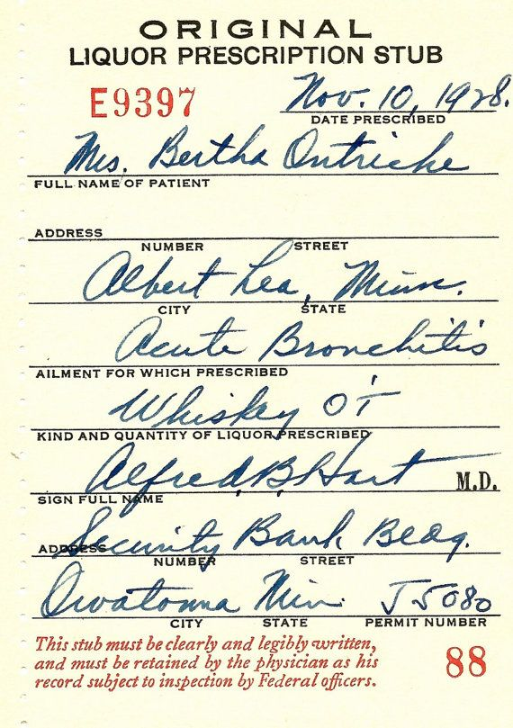 Old 1928 Prohibition Medical Whiskey Prescription Pharmacy Bar - medical certificate from doctor