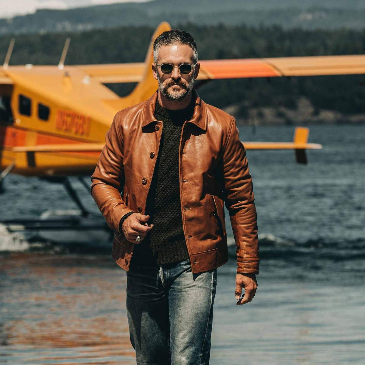 The Cuyama Jacket In Cognac Best Leather Jackets Mens Leather Jacket Classic Pilot Jacket [ 1200 x 1200 Pixel ]