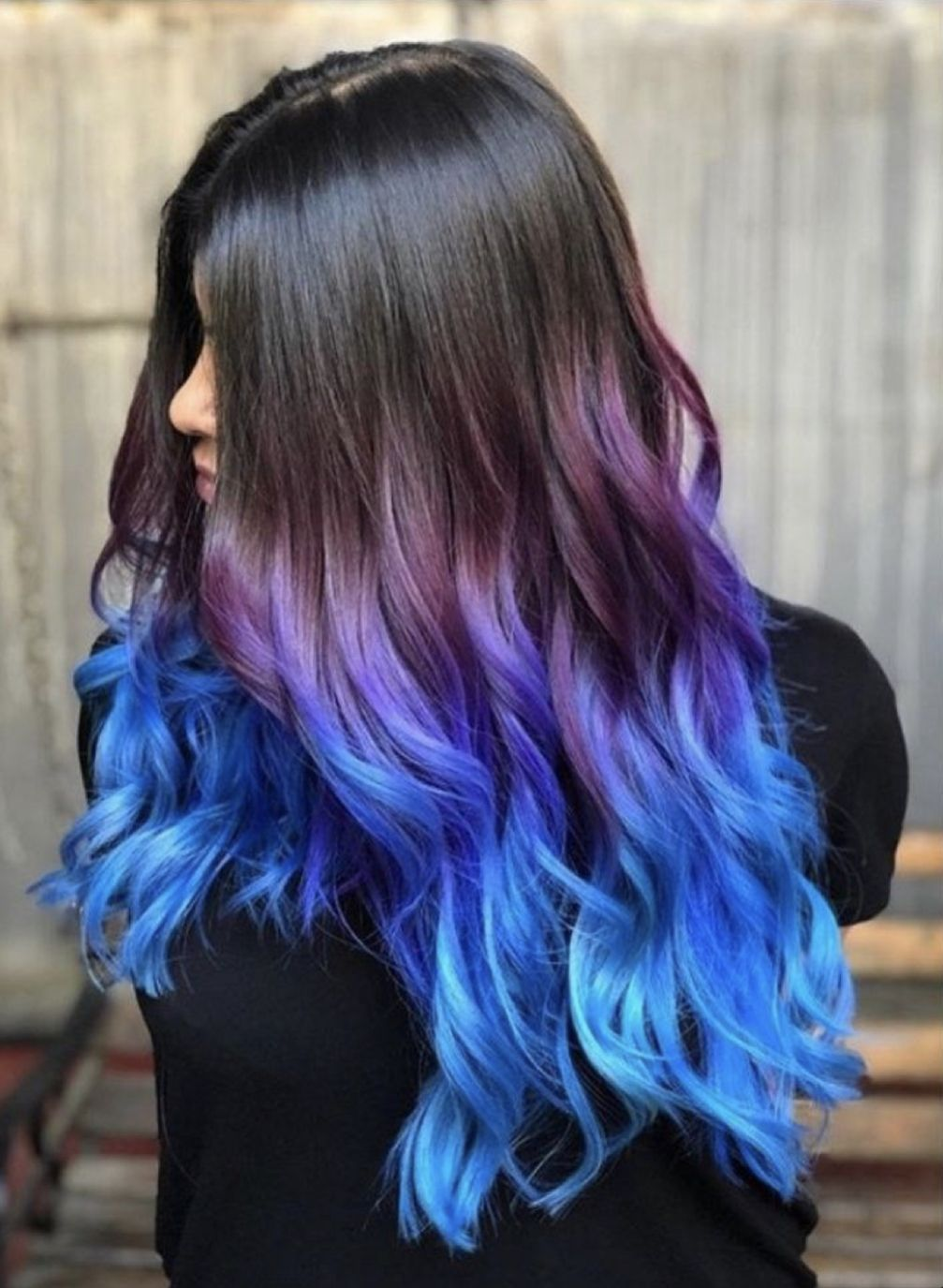 Amazing Blue And Purple Ombre Hair In 2020 Hair Dye Tips Hair Color Pink Purple Blue Hair Ombre