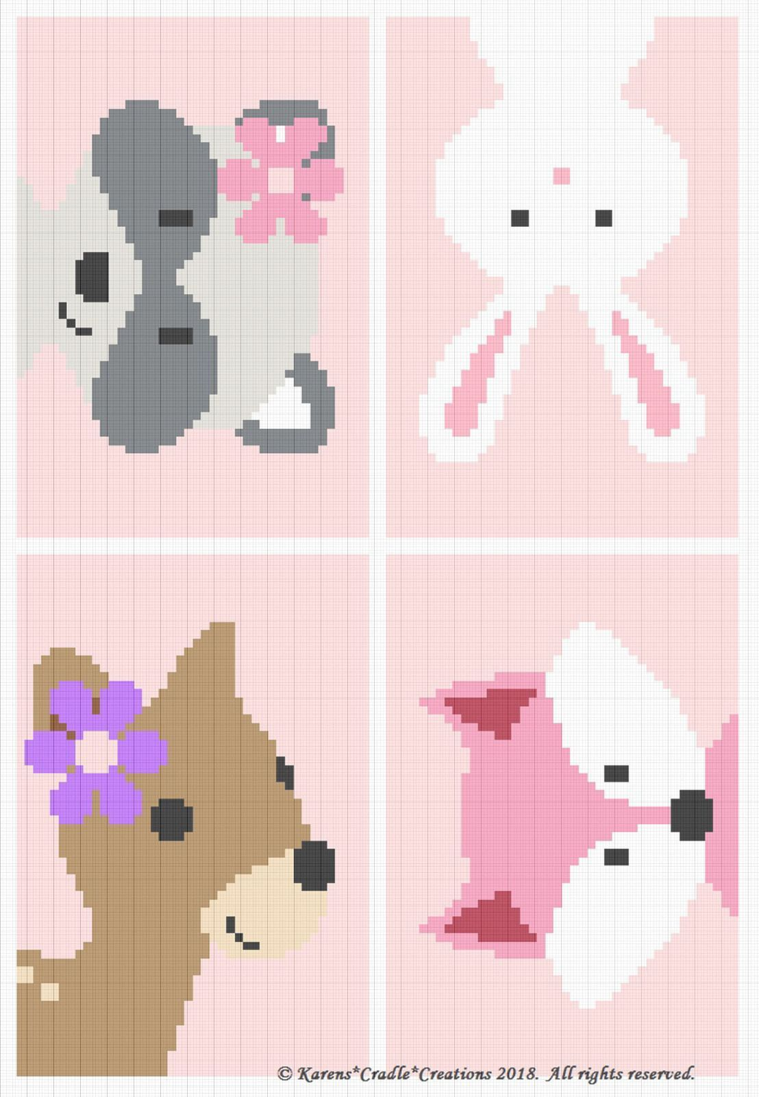 Photo of Crochet Patterns – WOODLAND ANIMAL FRIENDS Baby GIRL Graph/Chart Afghan Pattern …