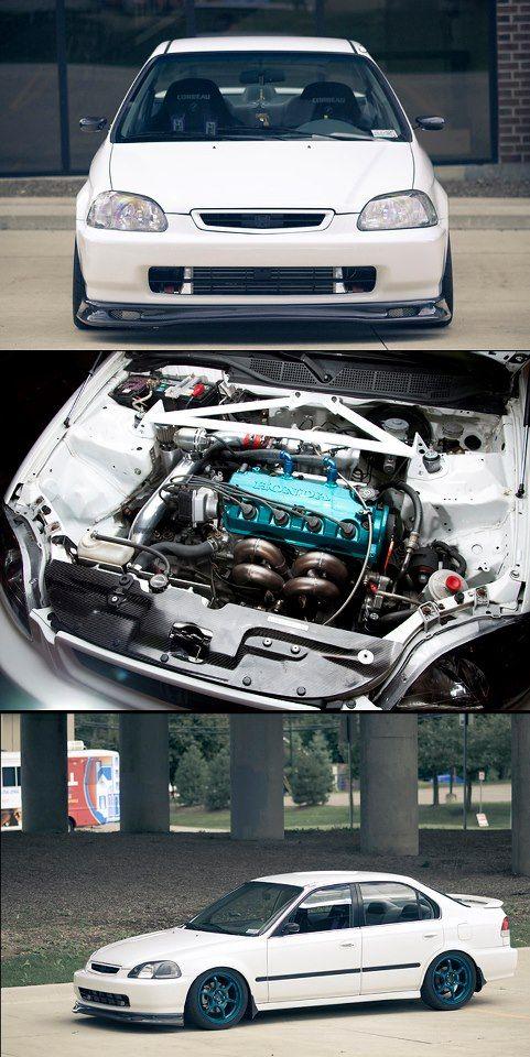 Honda Civic With A Boosted D16 Honda Civic Sedan Civic Sedan Jdm Honda