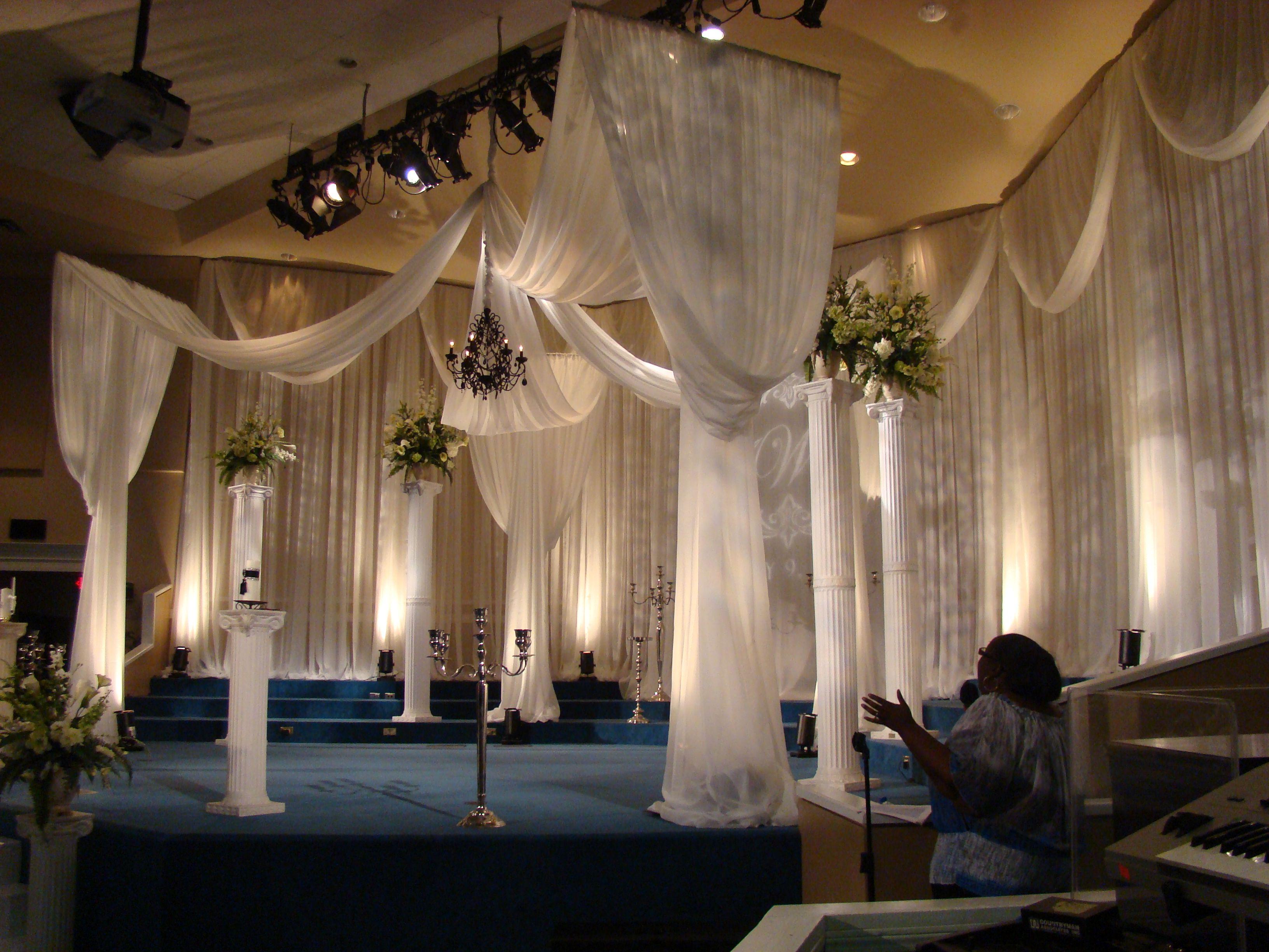 Elegant Drapery At Indoor Ceremony: Draped Stage Setup By EventsPlusNashvil... #Stage #wedding