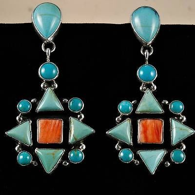 "Geneva Apachito ""Abequa"" Earrings Coral Turqoise Sterling Silver Native American 