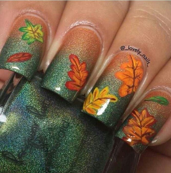 2014 Perfect Ombre Fall Leaves Nails Stickers Art Thanksgiving