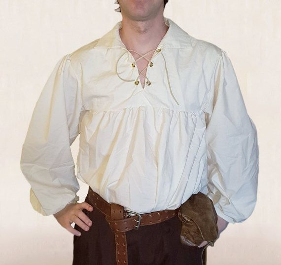 Mens' Full Sleeved Cotton Shirt, Leather/Cotton Ties at Neck & Wrists -  Ideal for Steampunk, Pirate, Fantasy, Medieval/Renaissance Costumes
