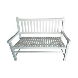 Enjoyable Garden Treasures 24 8 In W X 50 In L White Patio Bench Pabps2019 Chair Design Images Pabps2019Com