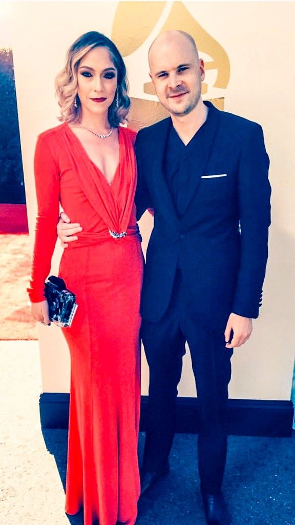 34dae3823897b4 Giselle and Jono Grant at the 58th Annual Grammy Awards wearing custome  Stefanie Phan acrylic clutch