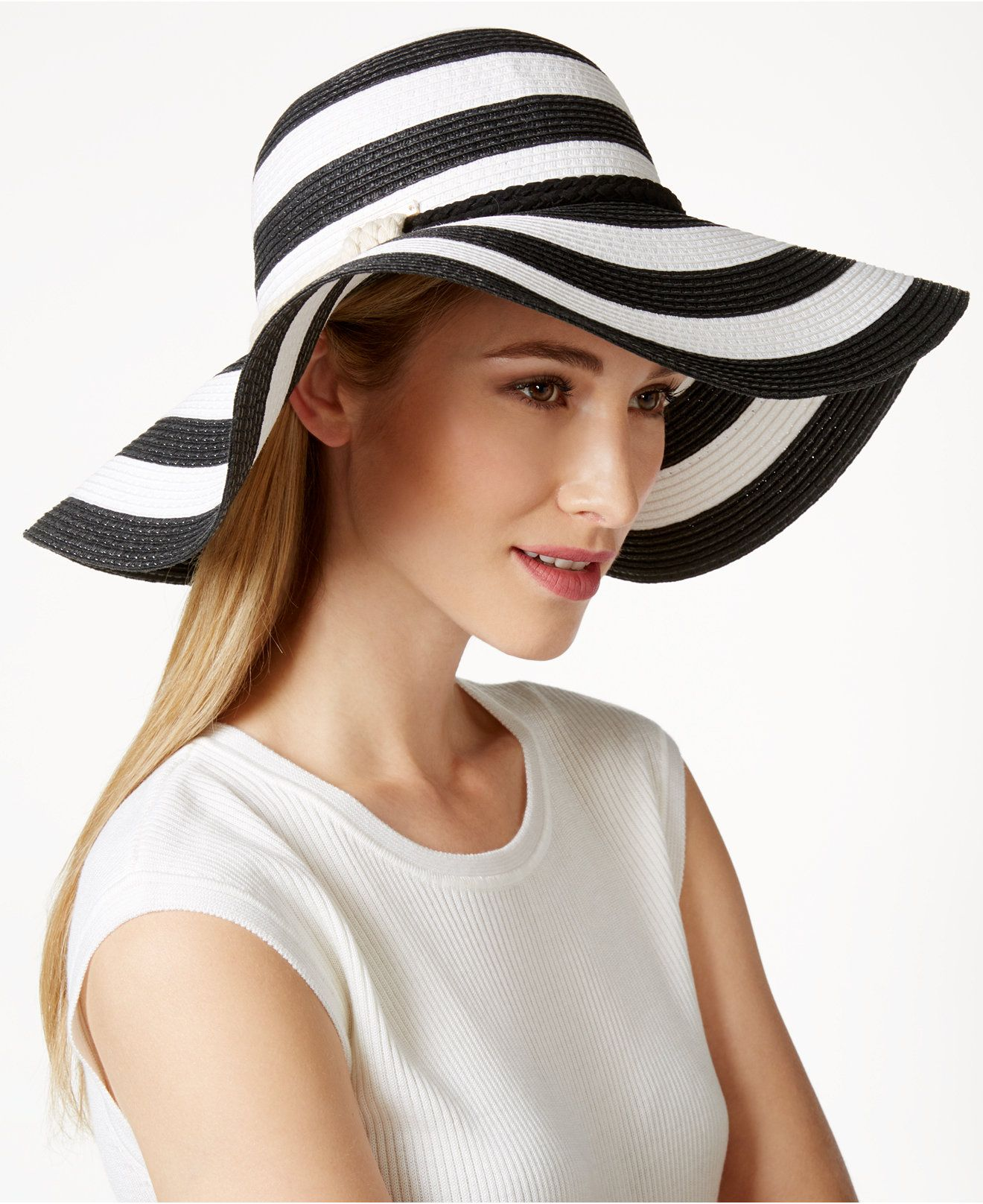 27b11e9c158 Vince Camuto Wide Stripe and Rope Floppy Hat - Hats
