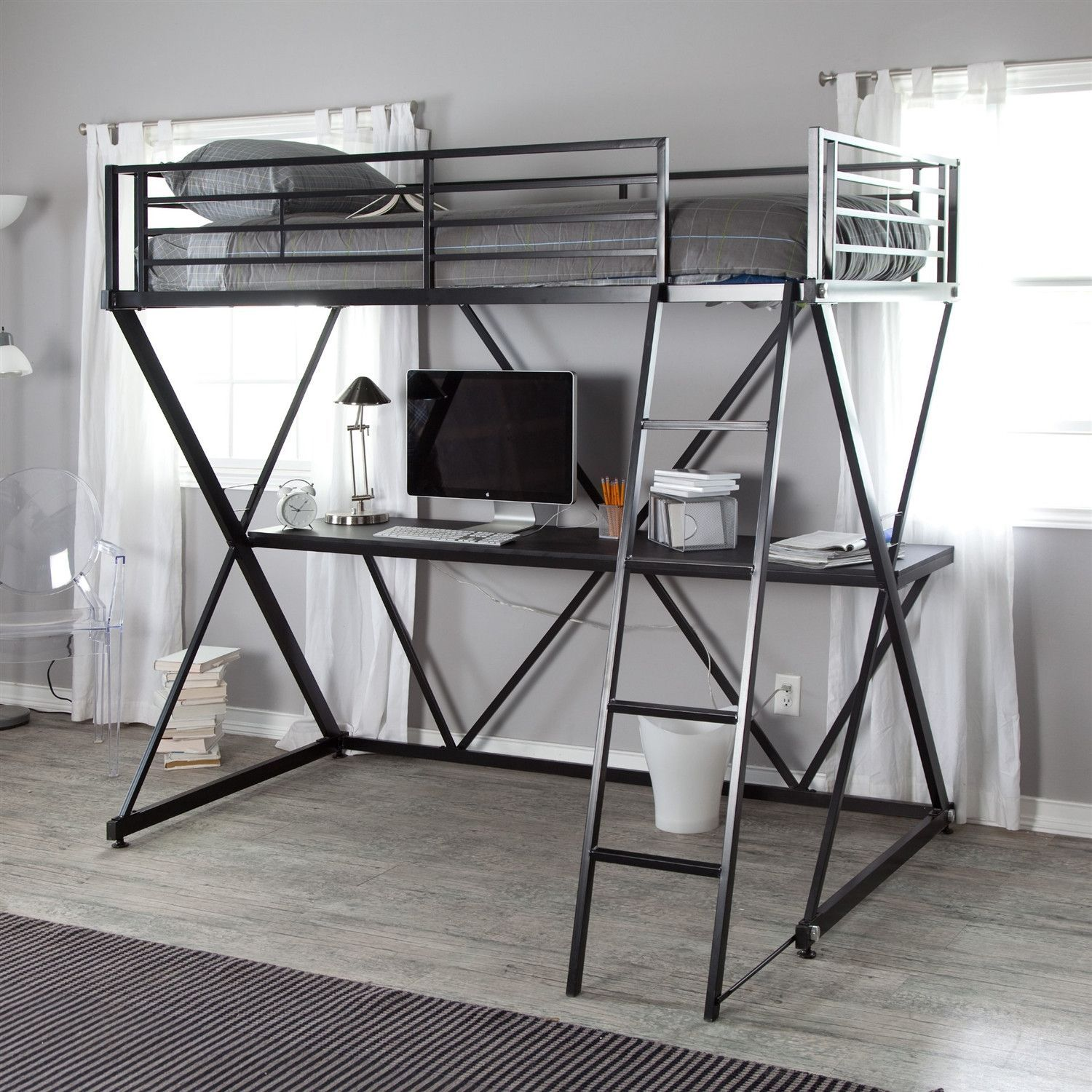 Modern black metal twin size bunk bed loft with desk and for Modern bunk bed with desk
