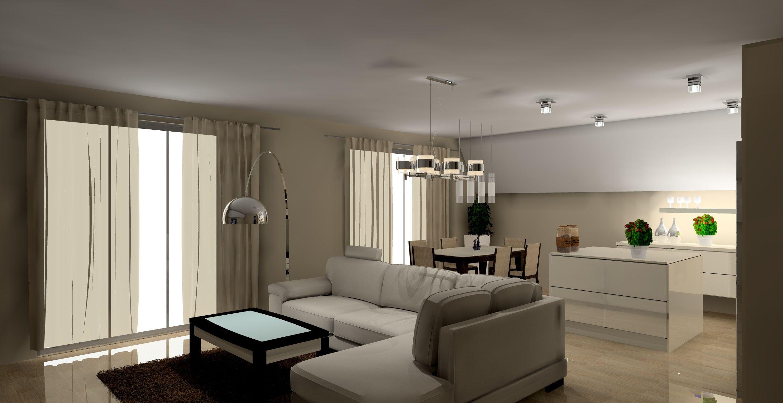 Salon Z Aneksem Kuchennym Wystroj Nowoczesny W Kolorze Wanilia Braz Home Open Plan Living Interior