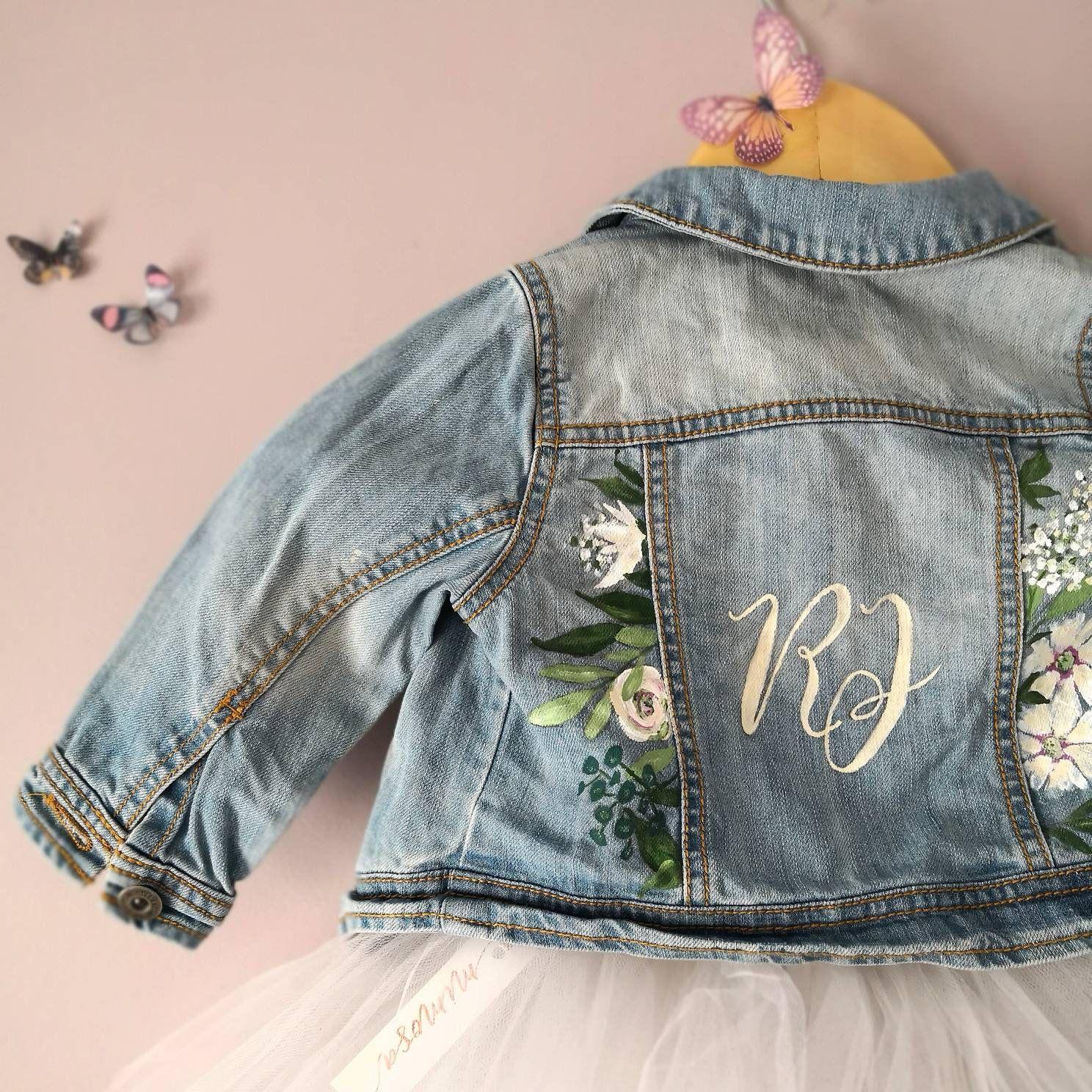 dd27bd9091 Hand Painted Personalised Girls Denim Jacket, Bespoke Designs ...