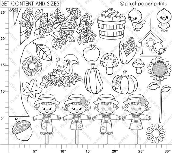 Cute Autumn Elements Digital stamps Clipart by