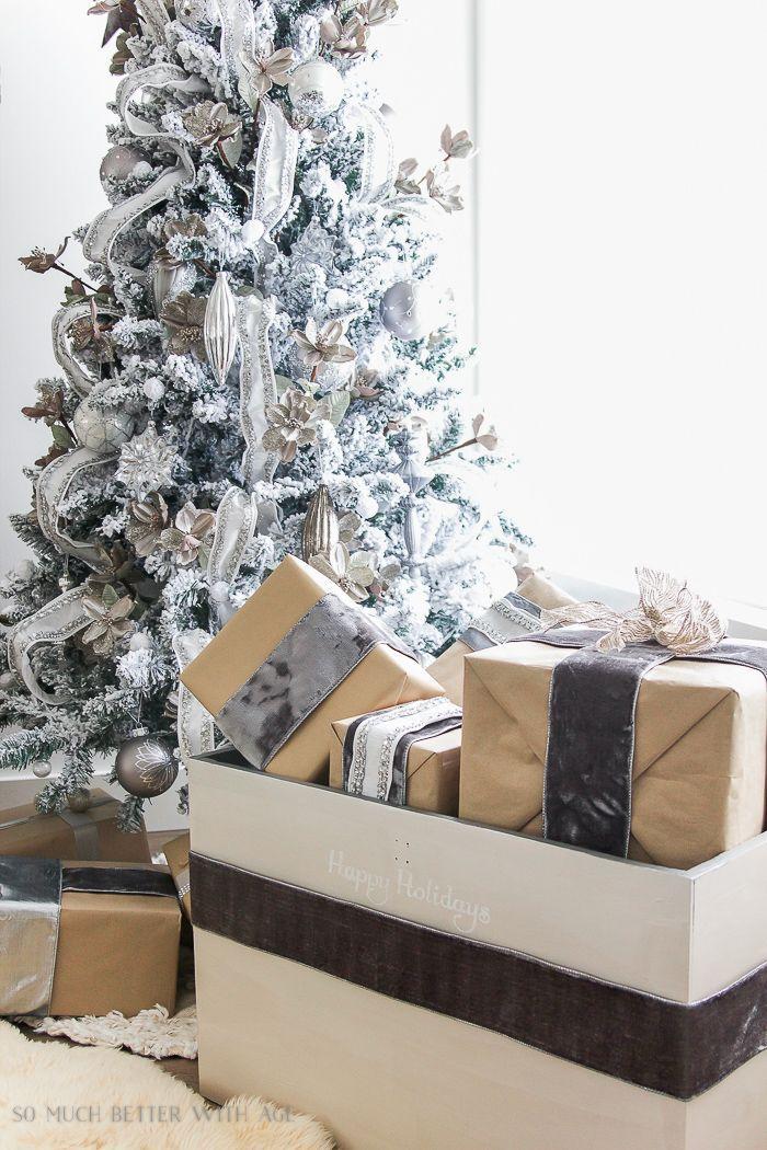 flocked christmas tree angel wings painted trunk 110 Painted Christmas Trunk Painted trunk