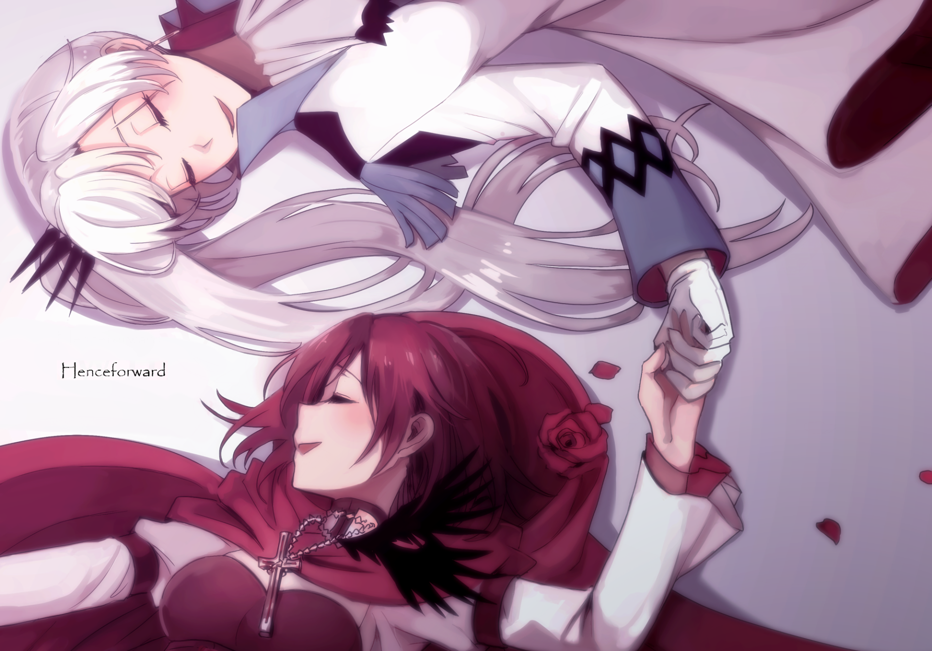 Anime Rwby Ruby Rose Rwby Weiss Schnee Wallpaper Art White