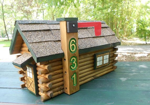 Log Cabin Mailbox with your house number, handcrafted, shingles