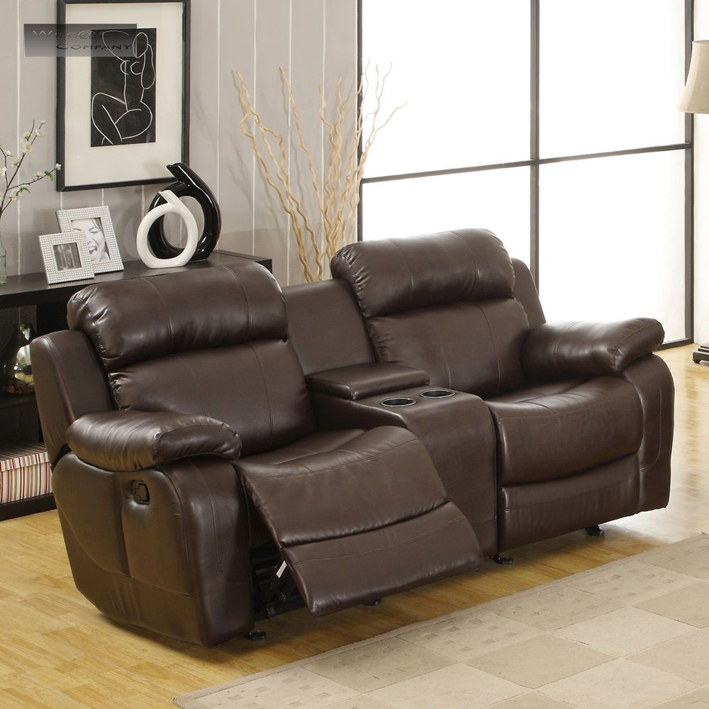 Best Brown Leather Glider Recliner Loveseat Sofa Double Lazy 400 x 300