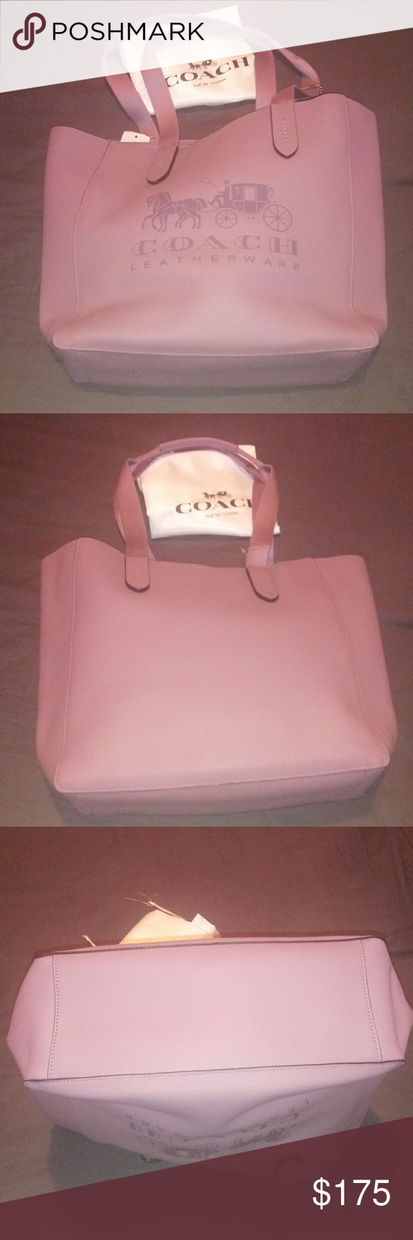 Coach Leather Grove Tote Bag Brand new all leather Coach Grove Tote in a soft lavander color (SV/Jas...