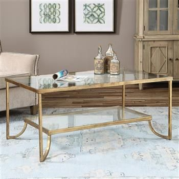 Madox Modern Classic Antique Gold Leaf Glass Coffee Table Gold