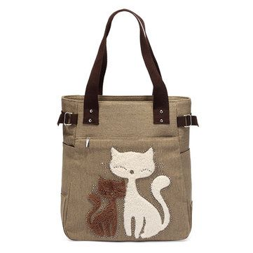Women Casual Cute Cat  Large Capacity Canvas Handbag Shoulder Bag Totes
