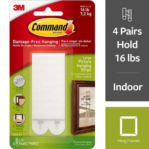 Command 4 Sets Large Sized Picture Hanging Strips White Picture Hanging Hanging Pictures Picture Frame Hangers