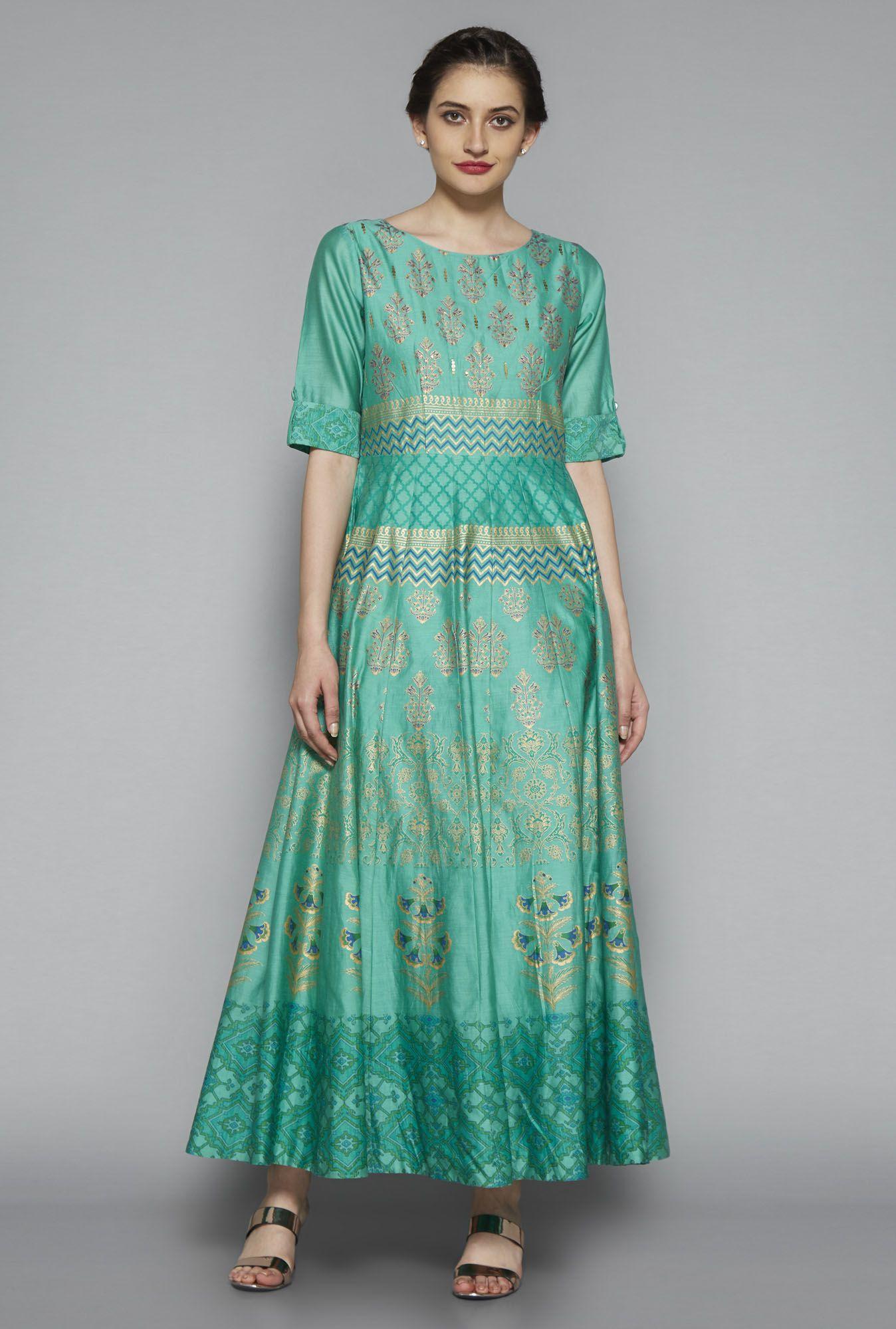 56153a8e2 ... Women Online @ Tata CLiQ. Vark by Westside Green Printed Dress