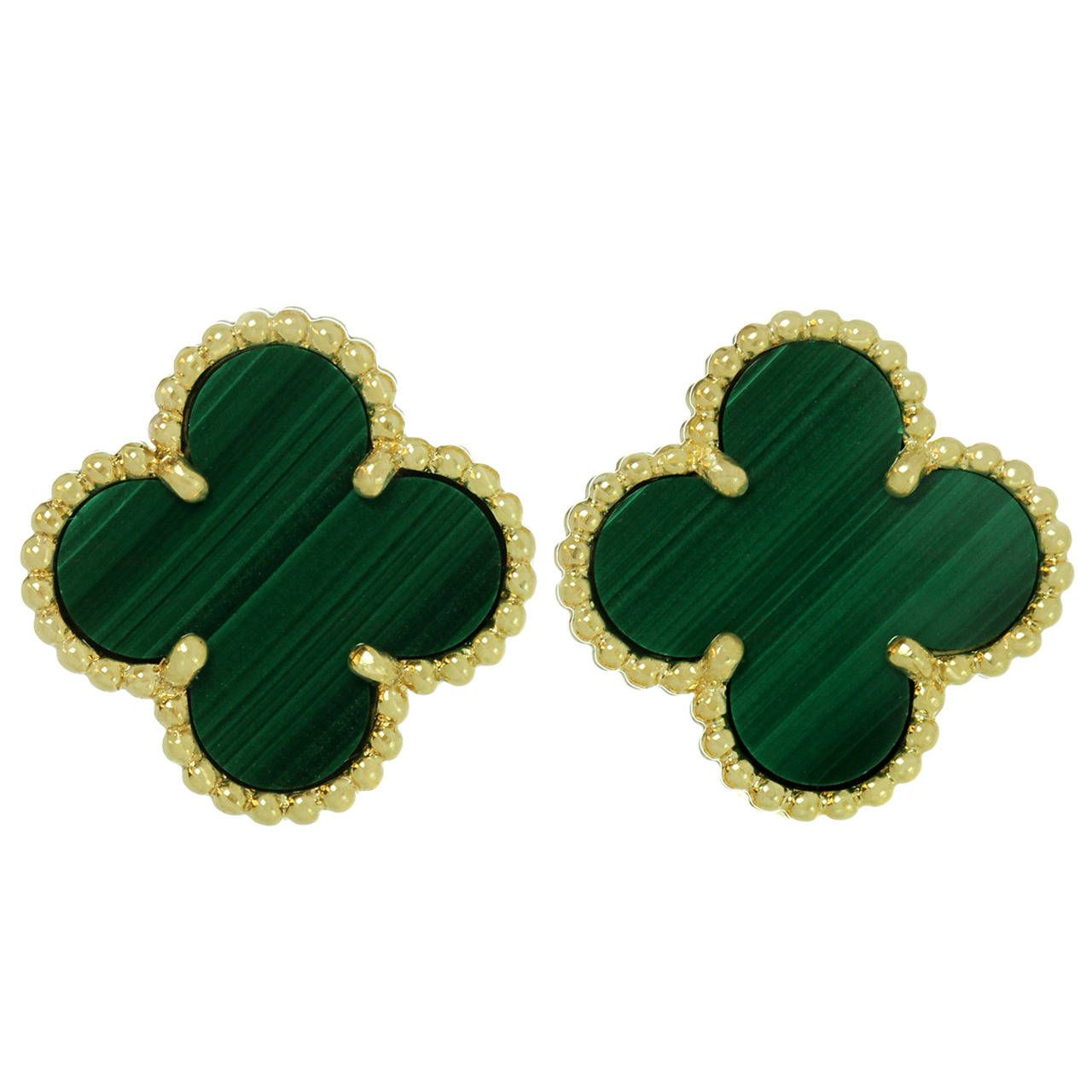 Van Cleef Arpels Vintage Alhambra Green Malachite Gold Earrings From A Unique Collection