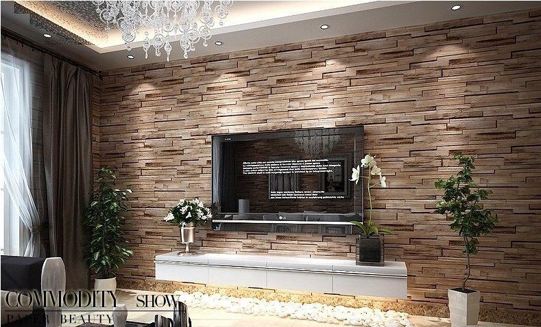 Luxury Wood Blocks Brick Wall Effect Vinyl 10m Wallpaper Roll Living Room Brown Wallpaper Living Room Living Room Background Faux Brick Walls