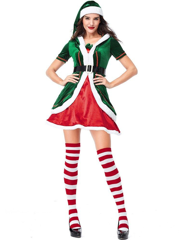 c3b8c426cf1f [ 54% OFF ] 2018 Women's Christmas Party Costumes Dress Cosplay Elf Clothes  Sets In Multi 2xl | Rosegal.com