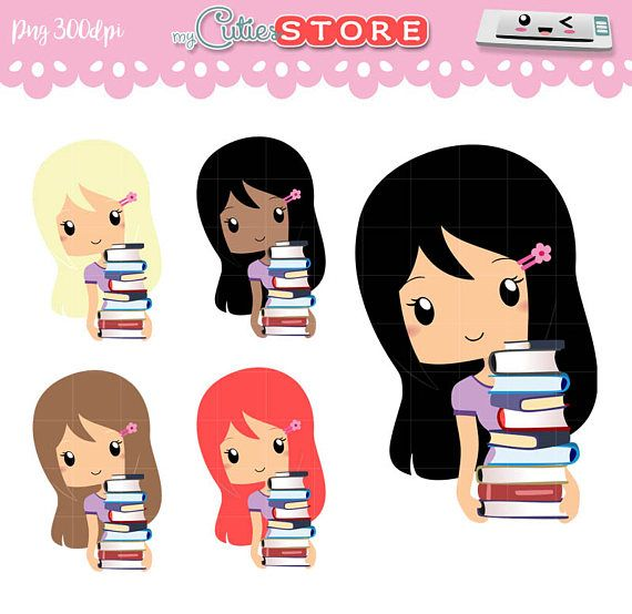 Chibi Library Study and Reading Clipart, Kawaii Clip art