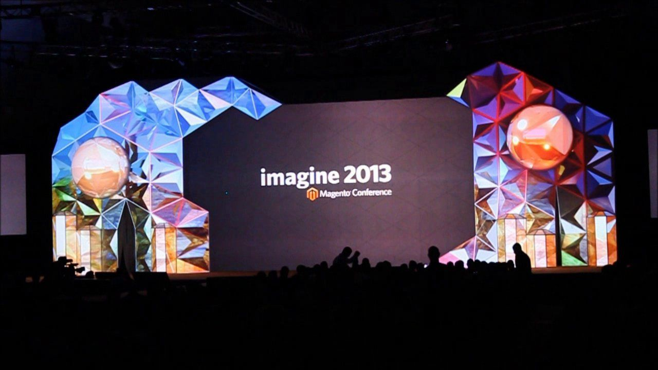 Indoor projection-mapped stage for Magento Imagine 2013 ...  Indoor projecti...