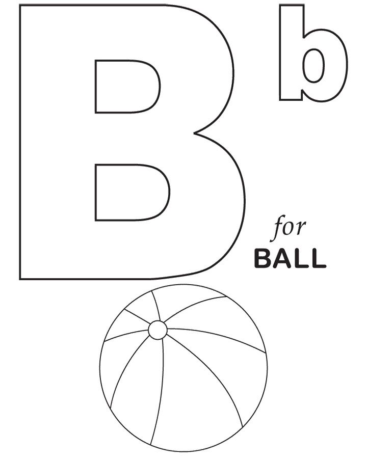 B For Ball Coloring Pages | Alphabet coloring pages ...