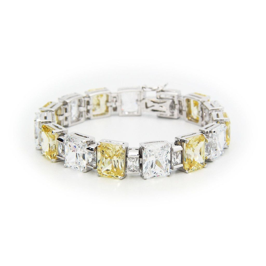 Art deco canary cubic zirconia fine sterling silver bracelet by