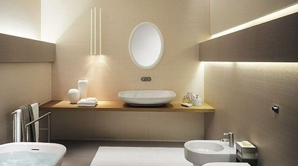 Perfekt Luxus Badezimmer Mit Wandfarbe Beige   FresHouse