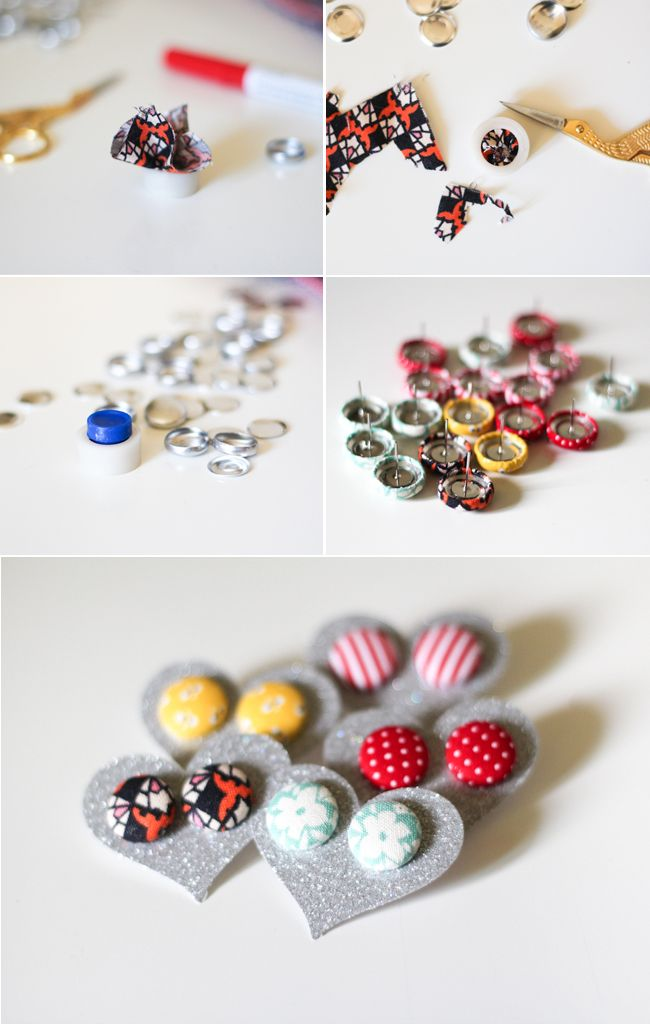 fabric covered button earrings schmuck selbst gemacht. Black Bedroom Furniture Sets. Home Design Ideas