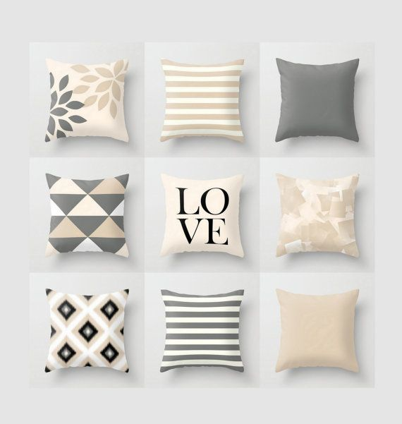 Neutral Throw Pillow Geometric Home Decor Grey Beige Black White
