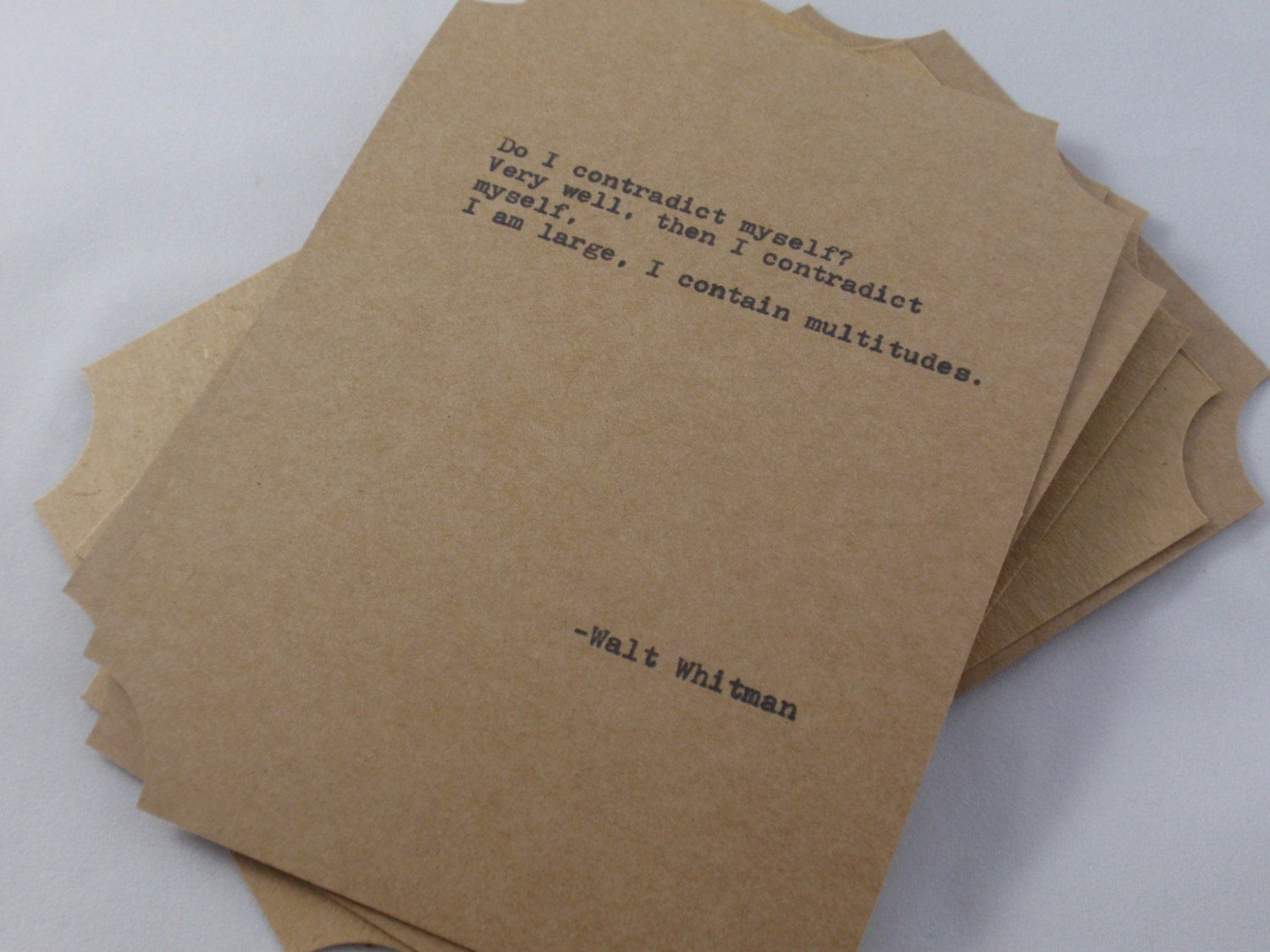 The WALT WHITMAN COLLECTION Quote Cards $10.00, Via Etsy. I Want Them!