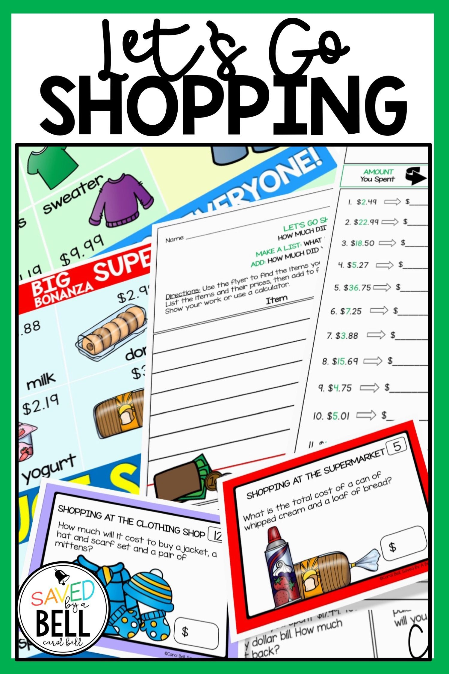 Shopping Worksheets And Task Cards Bundle Addition