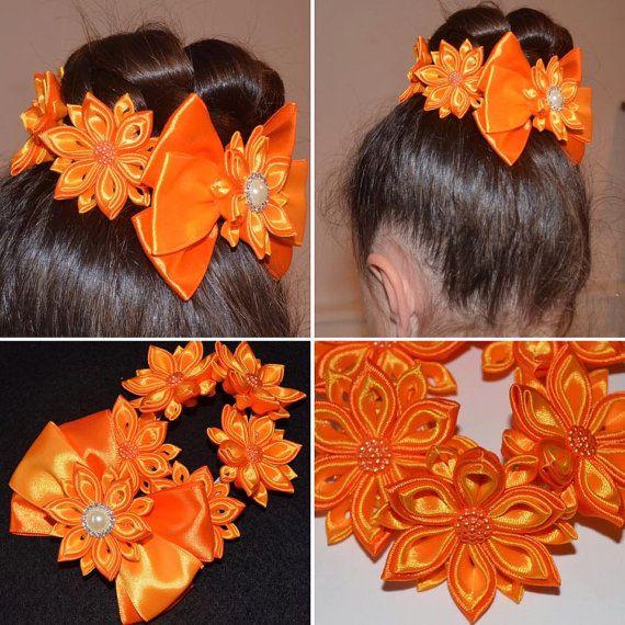 Artículos similares a Handmade Girl's Flower Bun Wrap/Top Knot in Orange, Kanzashi, Easter/Party en Etsy