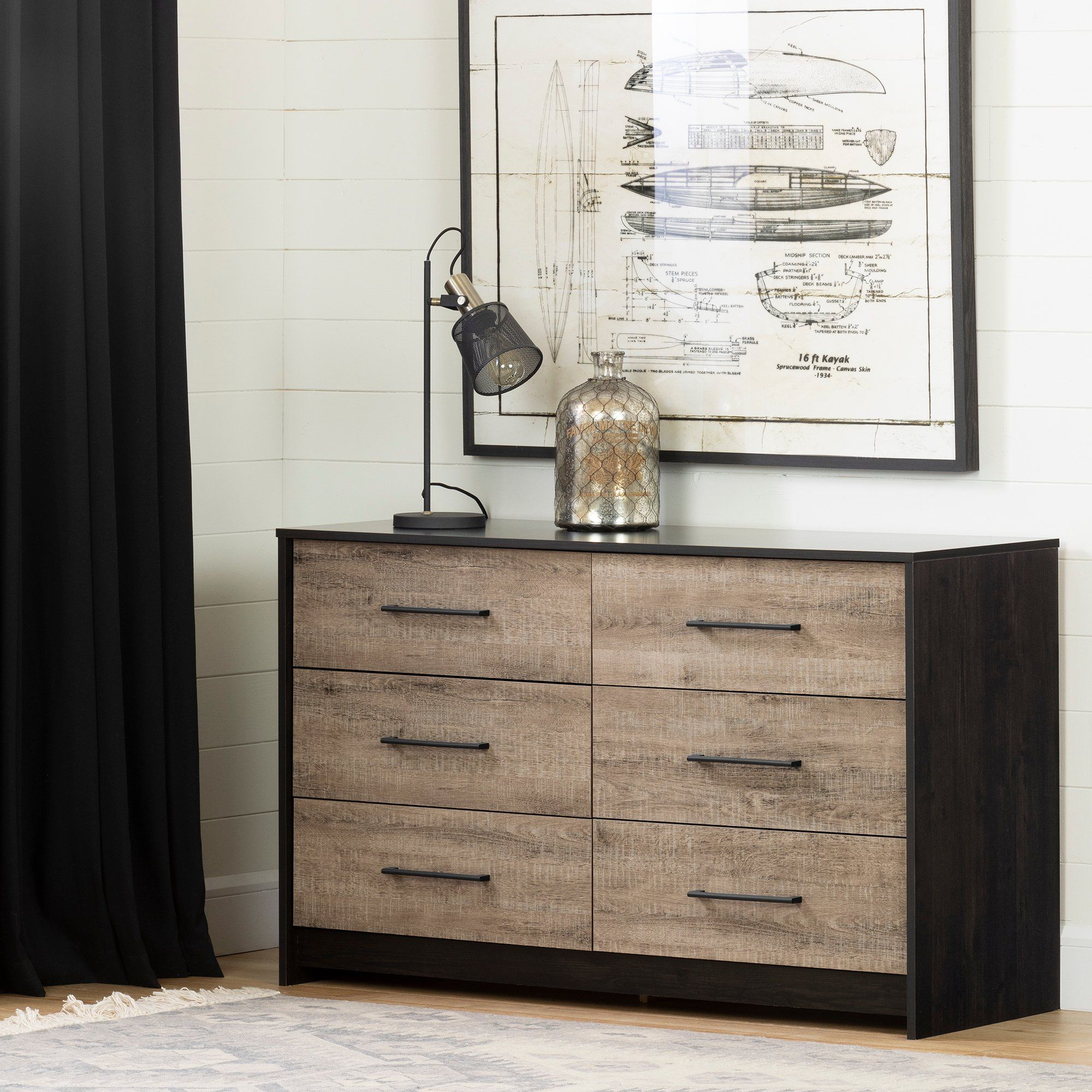 Contemporary Weathered Oak And Brown 6 Drawer Dresser Weathered Oak Modern Dresser Dresser Storage [ 2000 x 2000 Pixel ]
