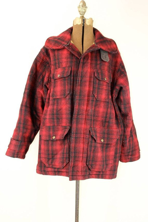 ae44f2cb31b45 Woolrich Plaid 1950s Hunting Jacket size by OutofthePastClothing ...