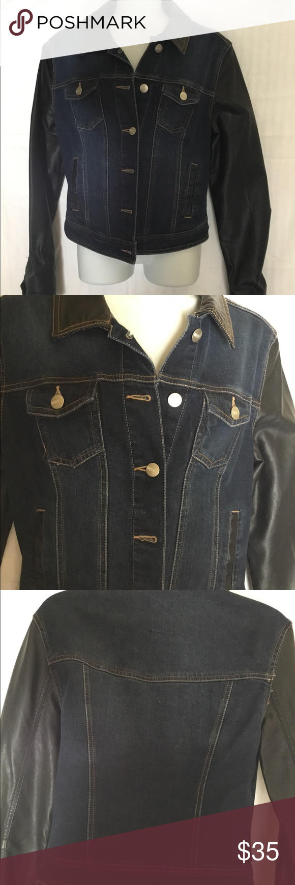 Denim and faux leather jacket, size Small Denim and faux
