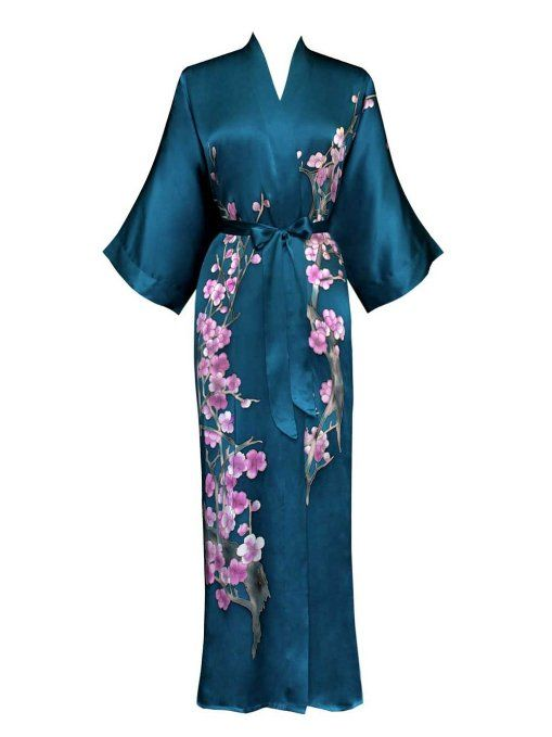 Old Shanghai Women's Silk Kimono- Handpainted (Long) Cherry Blossom Design (Teal)