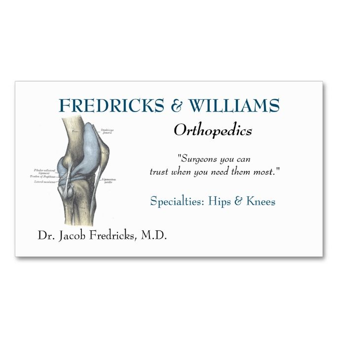 Orthopedic Surgeon Business Card This Great Business Card Design
